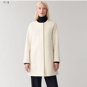 NWOT COS Collarless A-line Wool Coat